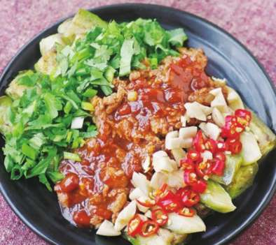 五彩茄条的做法及介绍---千米饮食网