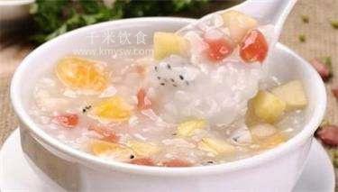 水果粥的做法及介绍---千米饮食网(www.kmysw.com)