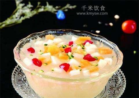 奶味水果粥的做法及介绍---千米饮食网(www.kmysw.com)