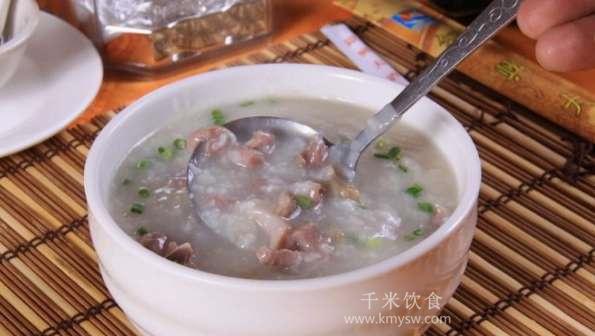 肉丝粥的做法及介绍---千米饮食网(www.kmysw.com)